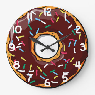 Chocolare Glazed Dounut with Sprinkles Large Clock