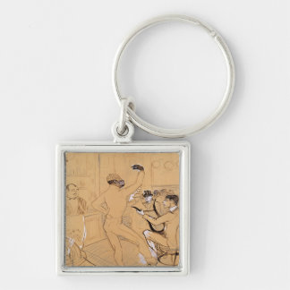 Chocolat Dancing, 1896 Silver-Colored Square Key Ring