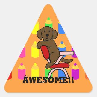 Chocolat Labrador Student 3 Cartoon Reward Triangle Sticker