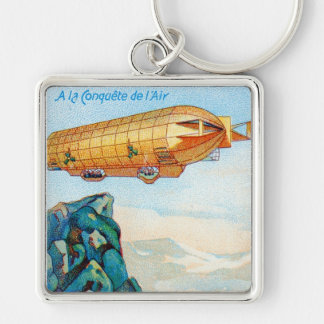 Chocolat Masson Ad with Zeppelin Airship Silver-Colored Square Key Ring