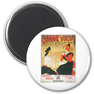 Chocolat Vincent Vintage Food Ad Art 6 Cm Round Magnet