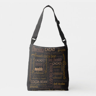 Chocolate, Almonds and Dark Chocolate Text Design Crossbody Bag
