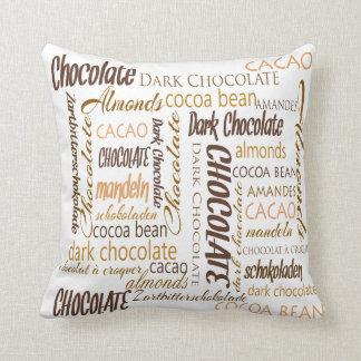 Chocolate, Almonds and Dark Chocolate Text Design Cushion