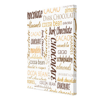 Chocolate, Almonds and Dark Chocolate Word Cloud Canvas Prints