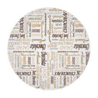 Chocolate, Almonds and Dark Chocolate Word Cloud Cutting Board