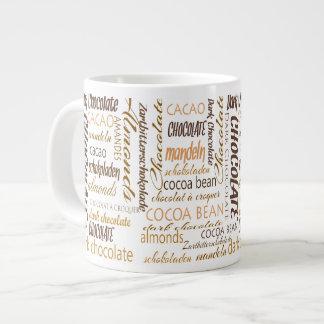 Chocolate, Almonds and Dark Chocolate Word Cloud Giant Coffee Mug