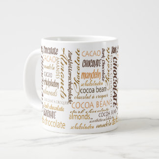 Chocolate, Almonds and Dark Chocolate Word Cloud Jumbo Mug