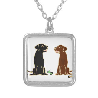Chocolate and Black Labrador Retrievers Art Silver Plated Necklace