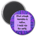 chocolate and coffee 6 cm round magnet