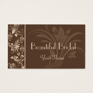 Chocolate and Cream Floral Scroll Business Card