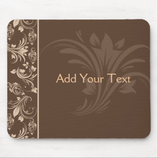 Chocolate and Cream Floral Scroll Mouse Mat