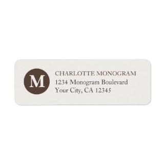 Chocolate and Cream Monogram Return Address Label