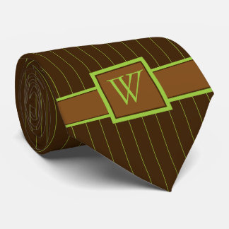 Chocolate and Lime Pinstripes Men's Neck Tie
