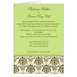 Chocolate and mint wedding invitation cards