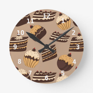 Chocolate and pastries pattern 3 round clock