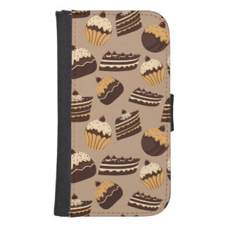 Chocolate and pastries pattern 3 samsung s4 wallet case