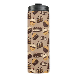 Chocolate and pastries pattern 3 thermal tumbler
