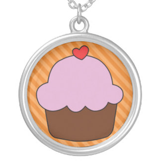 Chocolate and Pink Cupcake with Heart Jewelry