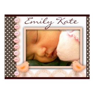 Chocolate and pink polka dot baby theme post card