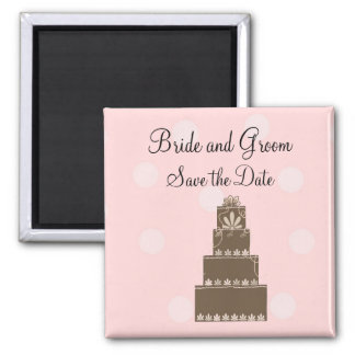 Chocolate and Pink Save the Date Fridge Magnet