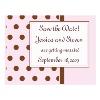 Chocolate and Pink Save the Date! Postcard