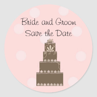 Chocolate and Pink Save the Date Round Sticker