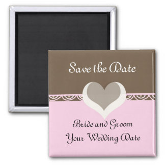 Chocolate and Pink Save the Date Square Magnet