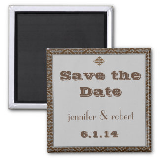 Chocolate and Silver Damask Save the Date Magnet