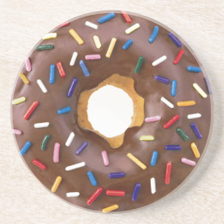 chocolate and sprinkles doughnut coaster