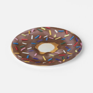 chocolate and sprinkles doughnut paper plates