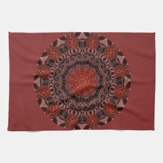 Chocolate and Strawberries Mandala, Abstract Tea Towel