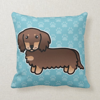 Chocolate And Tan Long Coat Dachshund Cartoon Dog Cushion