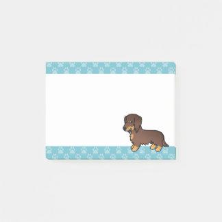 Chocolate And Tan Long Coat Dachshund Cartoon Dog Post-it Notes