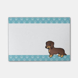 Chocolate And Tan Long Coat Dachshund Cartoon Dog Post-it® Notes