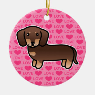 Chocolate And Tan Smooth Coat Dachshund Love Christmas Ornament