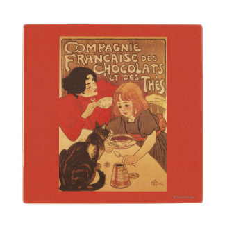 Chocolate and Tea Co Mother and Daughter Maple Wood Coaster