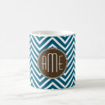 Chocolate and Teal Chevron Pattern with Monogram