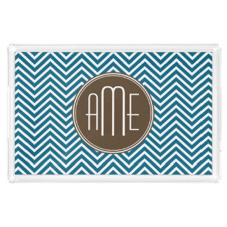 Chocolate and Teal Chevron Pattern with Monogram Acrylic Tray