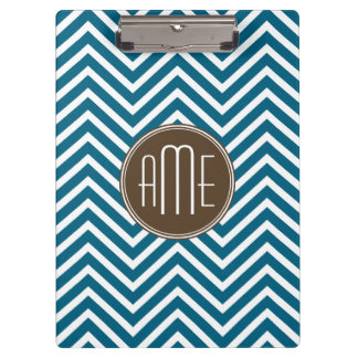 Chocolate and Teal Chevron Pattern with Monogram Clipboard