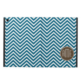 Chocolate and Teal Chevron Pattern with Monogram Cover For iPad Air