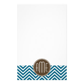 Chocolate and Teal Chevron Pattern with Monogram Custom Stationery