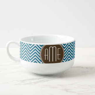 Chocolate and Teal Chevron Pattern with Monogram Soup Mug
