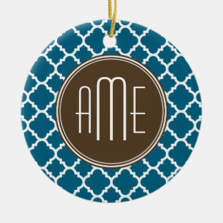 Chocolate and Teal Quatrefoil Pattern Monogram Christmas Ornament