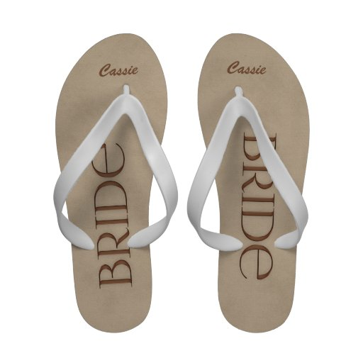 Chocolate and White Bride's Wedding Slippers Sandals