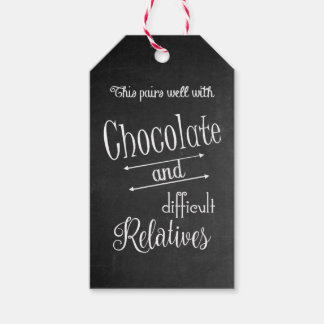 Chocolate And Wine Bottle Party Gift Tag
