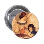 Chocolate Angel Vintage French Candy Poster Pinback Button