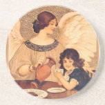 Chocolate Angel Vintage French Candy Poster Drink Coaster