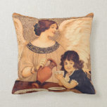 Chocolate Angel Vintage French Candy Poster Throw Pillows