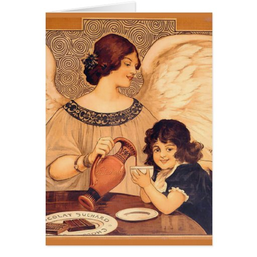 Chocolate Angel Vintage French Candy Poster Greeting Card