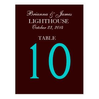 Chocolate Aqua Blue Wedding Table Number Card